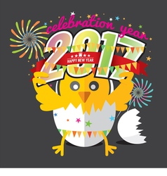 Cute Chick Celebrating 2017 With Colorful Firework vector image