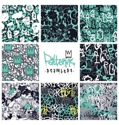 Graffiti seamless patterns set vector image vector image