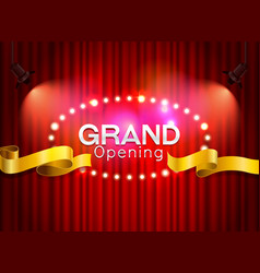 grand opening cutting red ribbon on curtain with vector image vector image