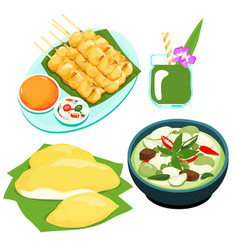 popular thai green curry food set vector image