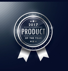 product of the year silver badge label design vector image vector image