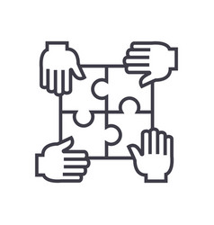 puzzle with four handspartnership line vector image