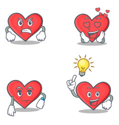 Set of heart character with angry love waiting vector