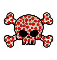 Skull with roses Flower head skeleton Crossbones vector image vector image