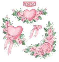 Watercolor pink roses groupCute vintage flowers vector image vector image