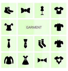 14 garment icons vector image