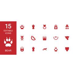 15 bear icons vector