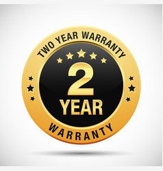 2 year warranty golden badge isolated on white vector