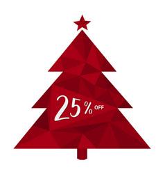 25 off twenty five percent christmas tree vector image