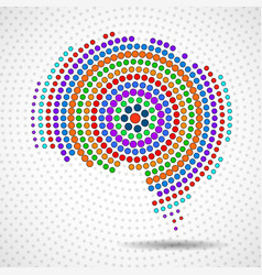 abstract colorful brain of radial dots vector image