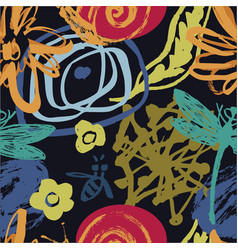 abstract floral pattern with bees and dragonflies vector image