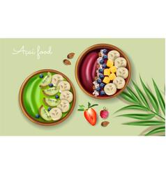 Acai and kiwi smoothie bowl realistic mock vector
