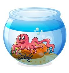 An octopus inside aquarium vector
