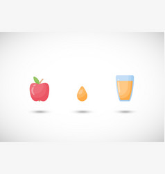 apple juice flat icons set vector image