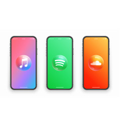 Apple music spotify soundcloud logo on iphone vector