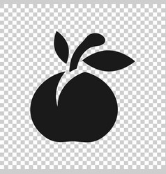 apricot fruit icon in transparent style peach vector image