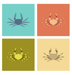 Assembly flat animal crab vector