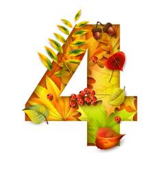 autumn stylized alphabet with foliage digit4 vector image