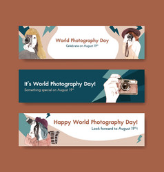 banner template design with world photography day vector image