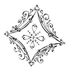 Beautiful ace diamonds in black and white vector