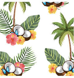 beautiful tropical flowers cartoon vector image