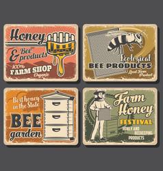 Beekeeping apiary and bees honey farm vector