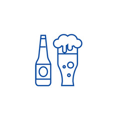beer bottle and beer glass line icon concept beer vector image
