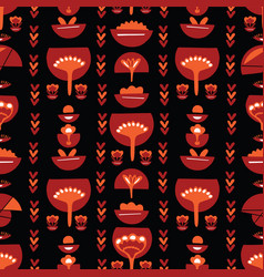 bohemian red retro floral vector image