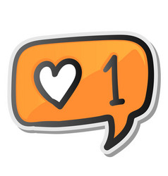 bubble sticker with hearts counter notification vector image