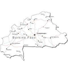 Burkina Faso Black White Map vector image