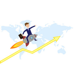 businessman flies above world map for new vector image