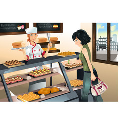 Buying cake at bakery store vector