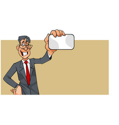cartoon man in suit with tie showing blank card vector image