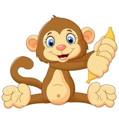 Cartoon monkey holding banana fruit vector image