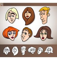 cartoon people heads set vector image