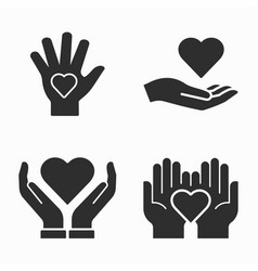 Charity icons set on white background vector