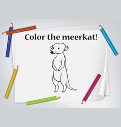 children meerkat coloring worksheet vector image