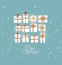 christmas greeting card with gift boxes on blue vector image