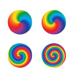 Color swirl twist radial rainbow round design vector