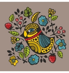 Colorful print with decorative bird and flowers vector image