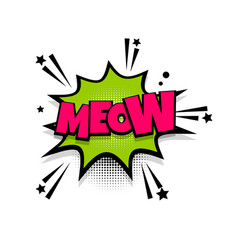 Comic text phrase pop art meow cat vector