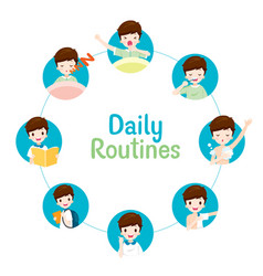 Daily routines of boy on circle chart vector