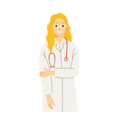 Doctor intern woman in uniform with stethoscope vector