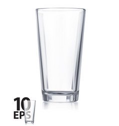 empty transparent water glass realistic 3d vector image