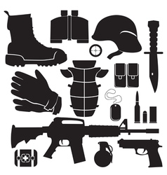 Equipment soldier set vector