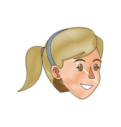 face woman head blonde ponytail draw vector image