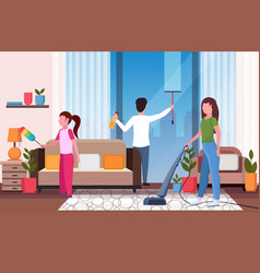 Family doing housework together father wiping vector