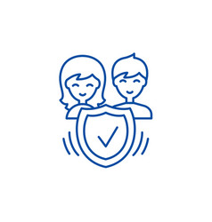 family insurance line icon concept family vector image
