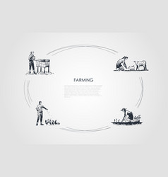 farming - women feeding animals picking harvest vector image