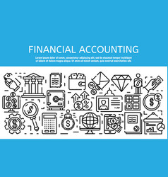 Financial accountant job banner outline style vector